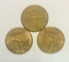 3 Pieces Of Malaysian 1990, 1991  & 1992 1 Ringgit Coin.