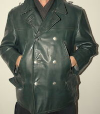 Man's Police Officer German Military Leather Coat Jacket 50 / UK 40 / Medium