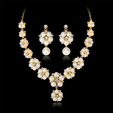 18k Gold Filled Austrian Crystal Pearl Pendant Jewelry Sets Necklace/earrings