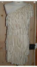 RIVER ISLAND ONE SHOULDER FLAPPER STYLE Cream Beige MINI DRESS, Size 6
