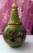 Vintage Greek ceramic cream and perfume bottle Green gold hand painted decoratio