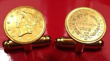 1852 U.S. Gold Liberty Head $1 Dollar Small Unique Coin Cufflinks + Gift Box!