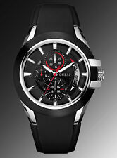 NEW GUESS MEN NITROGEN SPORT BLACK SILICONE STRAP WATCH U10575G1 SS DAY DATE NWT