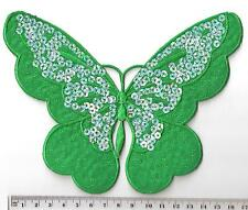 EMERALD GREEN SEQUIN BUTTERFLY ✿ EMBROIDED IRON SEW ON Patch / MOTIF QUILTING