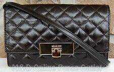 NWT Authentic Michael Kors Susannah Lock Quilted Leather Clutch Purse ~Black