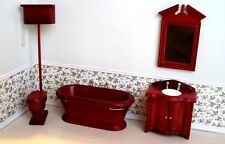 Dollhouse Miniature Furniture ~Victorian Bathroom Set ~ Made of Wood ~ Mah ~