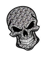 LARGE GOTHIC Biker SKULL & Metal Chequer Plate Motif vinyl car sticker Decal