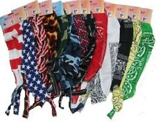 12 pc  Assorted SKULL CAPS Biker Do Rag Hat Wholesale