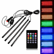 12V 18LED RGB Car Interior Floor Decoration Wireless Music Control 4 Strip Light