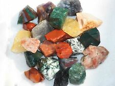 2 LB INDIA MIX  Rough Tumbling Rock Amethyst Agate Tourmaline Quartz FS