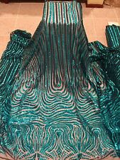 "BLACK MESH W/TURQUOISE  EMBROIDERY SEQUIN LACE FABRIC 52"" WIDE 1 YARD"