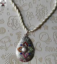 OFERTA LIQUIDACION Colgante lagrima colores en plata tibetana + regalo cordon