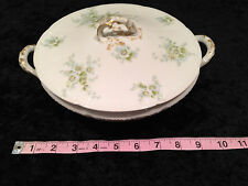 Vintage CH FIELD HAVILAND GDA LIMOGES Porcelain Serving Tureen Bowl Blue Floral