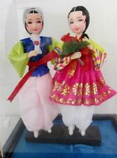 Korean Vintage Ceremonial Wedding Doll Set 2 Hand Painted Face, Hanbok Silk,Case