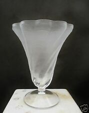 "Signed Lalique ""Lucie"" Frosted Lead Crystal Shell Design Trumpet Vase"