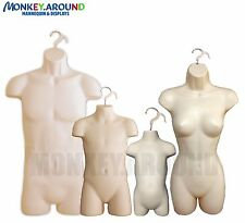 DISPLAY MANNEQUIN (SET 4) MALE FEMALE CHILD TODDLER HANGER FORMS w/ HOOK - FLESH