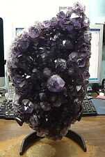 HUGE AMETHYST CRYSTAL CLUSTER  CATHEDRAL GEODE FROM BRAZIL W/ BLACK STEEL STAND