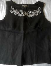 LAURA ASHLEY BLACK LINEN SLEEVELESS TOP BLOUSE WHITE BUTTERFLY EMBROIDERY 16