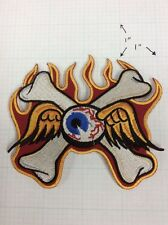 Flying Eyeball Crossed Bones Vintage Large Drag Racing Iron On Patch Von Dutch
