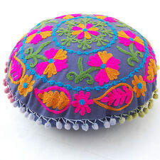 Home Decor Floral Suzani Pillow Cases Embroidered Indian Round Cushion Covers