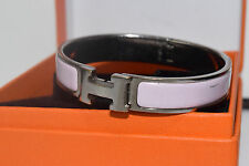 Authentic Hermes Clic Clac H Bangle Bracelet Pink Enamel Silver tone with Box