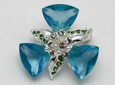 GIVENCHY Aqua Blue Glass Rhinestone Silver Plated Brooch Pin