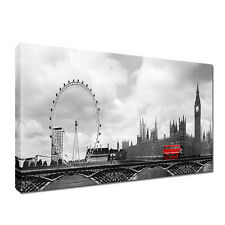 UK BIG BEN, London Eye BUS LONDRA immagine tela 20x40 pollici Cityscape ARTE STAMPE