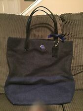 COACH SIGNATURE STRIPE WOOL NS TOTE BAG BLUE CHARCOAL BOW BLACK PATENT 24665