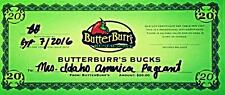 $5 Off a $20 Butter Burr's Gift Card - (4) available