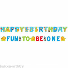 Wild Fun To Be One Blue Boy's 1st Birthday Party Letter Banner Decoration Set
