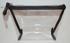 NEW VICTORIA'S SECRET BLACK CLEAR PLASTIC MAKEUP COSMETIC BEAUTY BAG POUCH CASE