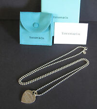 "Return To Tiffany Co Sterling Silver Heart Tag 34"" Bead Chain Necklace Box"