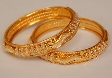 Pearl Fashion Indian Bridal Bollywood Gold Tone Bangle Bracelet Set 2.8 2/8