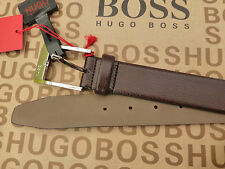 HUGO BOSS Exquisite Belt C-ELLOT Brown Leather Size 85/32 Logo Buckle Belts BNWT