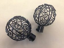 Cage Finial Set Black 19mm curtain pole Ends
