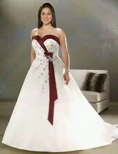 Plus Size White/Ivory & Burgundy/Blue/Purple Wedding dress bridal gown  18-28 UK