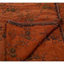Sanskriti Vintage Indian Saree Silk Blend Hand Beaded Woven Craft Fabric Sari