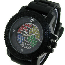 MENS ICED OUT BLACK ICE NATION HIP HOP BLING WATCH WITH SILICONE BAND