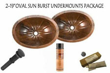 Copper Oval Flat Rim Sunburst Bath Sink Pair PACKAGE