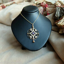 EDWARDIAN AMETHYST & SEED PEARL GOLD PENDANT Antique Amethyst & Pearl Pendant