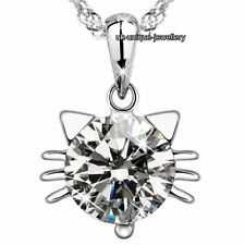 Hot Xmas Gifts For Her - Silver Cat Crystal Pendant Necklace Birthday Women Wife