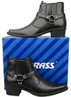 Mens New Black Pull On Cowboy Western Ankle Boots Size 6 7 8 9 10 11 12