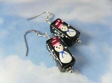 Snowman and Snowflake Earrings- black glass beads with silver accents -Christmas