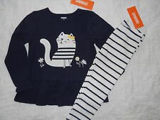 NWT GYMBOREE SIZE 2 2T FLOWER SHOWER LOT SET KITTY PEPLUM TOP TEE LEGGINGS