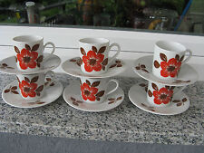 6 TASSES CAFE Porcelaine SELTMANN Couleur ROUILLE