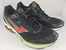 Mizuno Mens Black/Red/White Wave Rider 16 Running Shoes Size 14