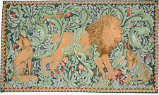 """THE FOREST TAPESTRY William Morris French Wall Hanging / Lion, Hare, Fox 29x46"""""""