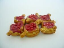 Set of 6 Puff Pastry with Raspberry  Dollhouse Miniatures Food Deco Yummy Pastry