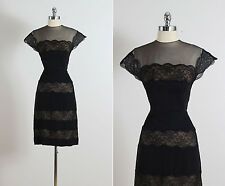 1950s 50s Vintage Peggy Hunt Black Lace Rayon Illusion Cocktail Wiggle Dress M