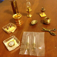 Lot Dollhouse miniatures 11 brass pcs umbrella stand candles pots scissors